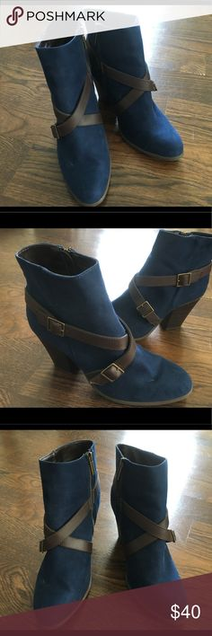 Charming Charlie Booties These have never been worn, just spring cleaning. Charming Charlie blue and brown booties Charming Charlie Shoes Ankle Boots & Booties