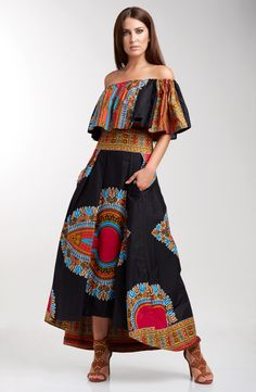 MISHANTY African Inspired Fashion Angelina Off Shoulder Top Angelina Pleat Front High Low Skirt.