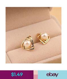 037d5979c52d  1.49 - Elegant Women s Triangular Ear Studs Pearl Earrings Yellow Gold  Plated Jewelry  ebay   · Aretes De ...