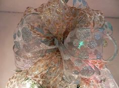 Lg.Christmas Tree topper bow made of a sheer by creativelycarole