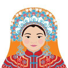 This is my Taiwanese Bride Matryoshka (aka- babushka, nesting doll, Russian doll, stacking doll) a print of an original illustration by me, Amy