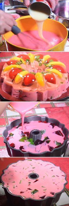 "Gelatina de fresa y durazno "" By Gina. #gelatina #fresa #durazno #gelato #frutas #postres #cheesecake #cakes #pan #panfrances #panettone #panes #pantone #pan #recetas #recipe #casero #torta #tartas #pastel #nestlecocina #bizcocho #bizcochuelo #tasty #cocina #chocolate Si te gusta dinos HOLA y dale a Me Gusta MIREN..."