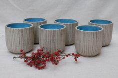 Handmade ceramic set of 6 cups wheel thrown white by studiowetwo