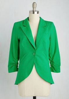 Color Me ModCloth Clothes and Decor - Fine and Sandy Blazer in Grass