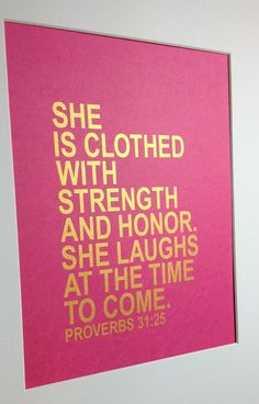 Gold Bible verse She is clothed with strength and by MiraDoson, $16.00