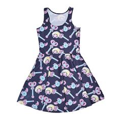 Women's Retro Style Cute Dress Anime Magic Wand Digital P...…