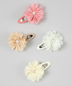 Ivory Sparkle Flower Snap Clip Set | something special every day