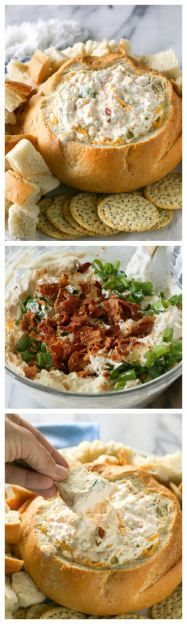 Warm Bacon Cheese Dip recipe - a creamy bacon and cheese dip baked in sourdough bread. Football food at its finest. www.the-girl-who-ate-everything.com