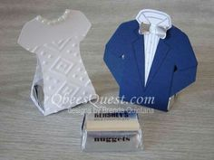 These Bride & Groom Hershey's Nugget favors are made with the Custom Tee Bundle. The favors are made by scoring and die-cutting the t-shi. Wedding Cards, Wedding Favors, Party Favors, Treat Holder, Custom Tees, Stamping Up, Print And Cut, Tee Design, Budget Wedding
