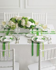 Green wedding decorations wedding colors green and white martha stewart weddings Table Verte, Green Wedding Centerpieces, White Centerpiece, Centerpiece Flowers, Centerpiece Ideas, Green Colour Palette, Color Palettes, Green Ribbon, White Ribbon