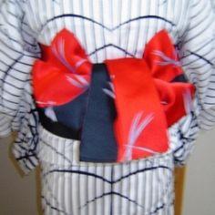 014 半巾帯(りぼん) - Hanhaba obi used for variation of CHO musubi ? ~ How to tie, see underlined link in original post, or: http://www.hansokubu.com/ai/014.pdf