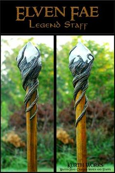 Kurth Works Custom Hand Carved Magic Wizard Wands and Staffs (Interesting. Can you carve a cage and put the crystal in from the *back* and then slip it onto the staff and secure it to the staff? ~KB) For you I could carve a mountain. Yes.