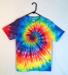 Tie Dye rainbow spiral t-shirt. Vivid! Perfect for festivals, concerts, camping or everyday use, because tie dye is AMAZING. Browse more