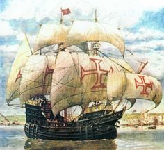 Portuguese carrack / galleon - most likely used to trade with the orient through the cape of good hope Portuguese Empire, Portuguese Culture, History Of Portugal, Old Sailing Ships, Sailing Boat, Ship Drawing, Medieval World, Nautical Art, Knights Templar