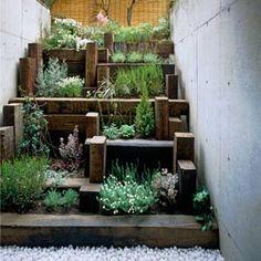 plants and timbers - for small garden spaces! Terrace Garden, Garden Spaces, Hill Garden, Diy Herb Garden, Home And Garden, Garden Steps, Planter Garden, Herbs Garden, Easy Garden