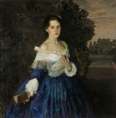 Konstantin Somov - Lady in blue, Portrait of Ye. M. Martynova, 1897 - Russia