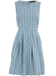 Blue spot print denim dress