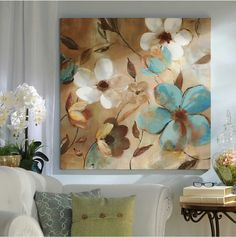 The Abstract Aqua & Brown Floral Canvas Art Print is an abstract interpretation. Acrylic Painting Flowers, Acrylic Canvas, Brown Floral, Color Of Life, Canvas Art Prints, Flower Art, Wall Art Decor, Framed Art, Art Projects