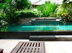 jardín pequeño con piscina grande