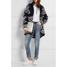 J.Crew Oversized fair isle wool cardigan (700 CAD) ❤ liked on Polyvore featuring tops, cardigans, j crew cardigan, oversized shirt, button up shirts, thick cardigan and j.crew cardigan