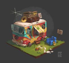 ArtStation - The Camp of the Hippies, Egor Belavsky