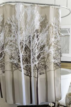 Forest Beige Fabric Shower Curtain