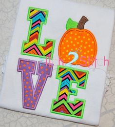Pumpkin Love (Font NOT Included) Applique Design For Machine Embroidery  INSTANT DOWNLOAD now available