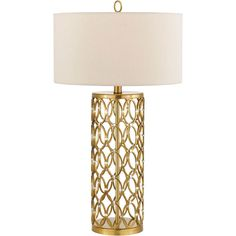 The Candice Olson Cosmo Table Lamp features a satin brass finish with aluminum accents and a cream hard-back shade. You get two trends, brass and a touch of Hollywood regency in one with this contemporary table lamp.