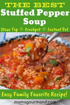 Pepper Soup is the best recipe out for an easy healthy flavorful one pot comfort food Slow cooker and Instant Pot directions included as wellStuffed Pepper Soup is the be. Crockpot Recipes, Soup Recipes, Cooking Recipes, Healthy Recipes, Skillet Recipes, Cooking Gadgets, Family Recipes, Pizza Recipes, Grilling Recipes