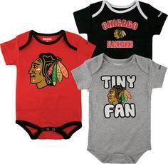 Chicago Blackhawks Newborn 3pc Foldover Neck Creeper Set
