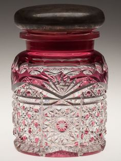 Dorflinger Brilliant Cut Glass / Sterling Jar