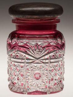 Dorflinger Brilliant Cut Glass / Sterling Jar