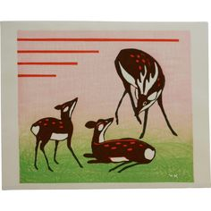 Japanese Woodblock Print 'The Deer Family' Contemporary print c1970, by Artist 'MK'