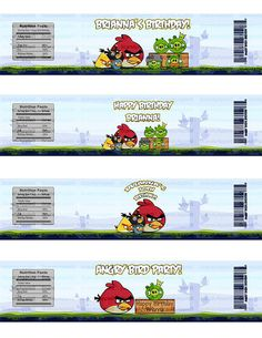 Angry Bird Water Bottle Labels