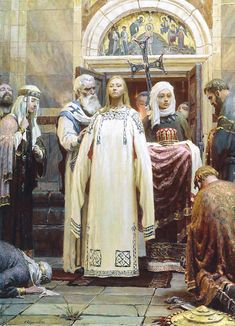 The Baptism of Grand Princess St Olga (Sergei Kirillov, 1992) (Painting One of the triptych Holy Rus); born c. 890 died 11 July 969, Kiev) was a ruler of Kievan Rus' as regent (945–c. 963) for her son, Svyatoslav.