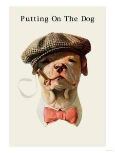 Dog in Hat and Bow Tie Smoking a Cigar - Art Print Vintage Prints, Vintage Art, Cigar Art, Pitbull Pictures, Dog Portraits, Life Magazine, Dog Art, Dog Toys, Cigars