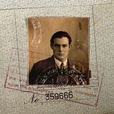 Ernest Hemingway's passport late 1921 going to Paris with Hadley