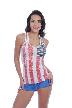 Tank w/ Distressed US Flag Print