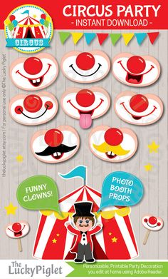 PARTY Printables, Printable Circus Party Package, Circus Party Invitation and Decoration Circus Birthday, Birthday Parties, Funny Birthday, Circus Baby, Circus Clown, Party Printables, Circus Party Invitations, Baby Shower Invitations, Birthday Invitations