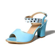 AmoonyFashion Women's Buckle Pu Open Toe High Heels Solid Heeled-Sandals >>> Read more reviews of the product by visiting the link on the image.