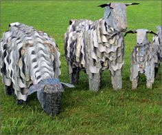 Corrugated iron sheep. Corrugated iron art sculptures, lamb, sheep, goats, piglets and more...