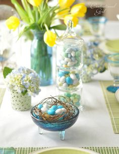 Blue and green Easter tablescape by Centsational Girl.