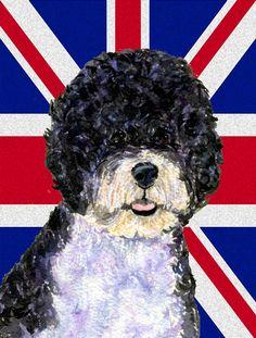 Portuguese Water Dog with English Union Jack British Flag 2-Sided Garden Flag