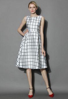 Plaid Chic Sleeveless Midi Dress - New Arrivals - Retro, Indie and Unique Fashion