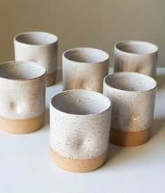 "Cord x Clay ""Thumblers"": Speckled Ceramic Cup with Thumb Hold - Clay/Pottery - Dimpled Tumbler/Water Glass/Mug - White Glaze - Handmade - Wheel Thrown. Glazes For Pottery, Pottery Mugs, Ceramic Pottery, Glazed Pottery, Pottery Supplies, Pottery Classes, Ceramic Cups, Ceramic Art, Keramik Design"