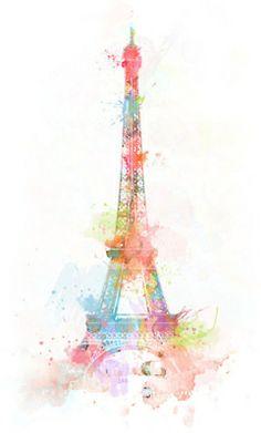 Eiffel Tower in pastel