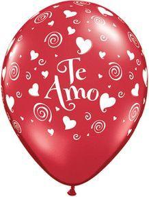 11'' Te Amo Swirling Hearts Latex- Ruby Red (50ct)