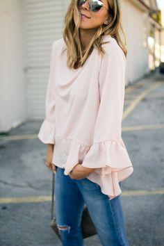 Pink Ruffled Top // Cella Jane