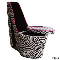 @Overstock - Zebra Print High Heel Chair - This elegant zebra print storage high heel chair will fit perfectly in any living room style and decor. Quite practical for discretely storing books, magazines, and other objects.  http://www.overstock.com/Home-Garden/Zebra-Print-High-Heel-Chair/8428410/product.html?CID=214117 $171.99