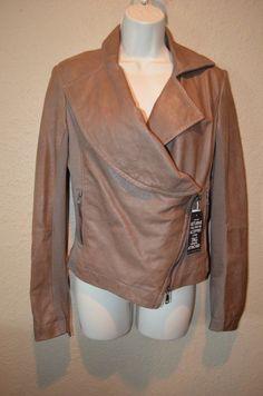 NWT Sz 44 4/6 Vivienne Westwood Anglomania Brown Leather Contrast Sleeve Jacket #VivienneWestwood #BasicJacket
